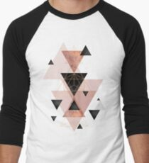 Geometric Triangles in blush and rose gold Men's Baseball ¾ T-Shirt