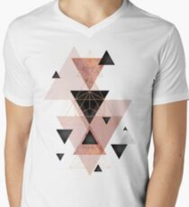Geometric Triangles in blush and rose gold Men's V-Neck T-Shirt