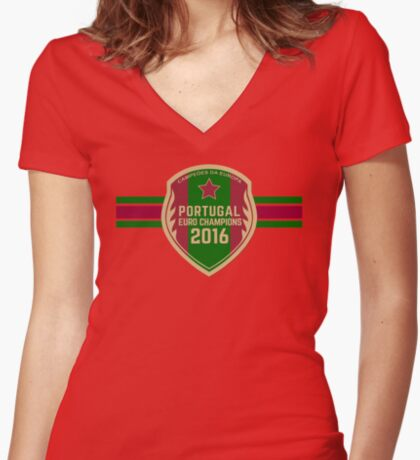 Portugal Euro 2016 Champions T-Shirts etc. ID-10 Women's Fitted V-Neck T-Shirt