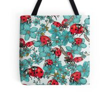 Happy Ladybugs with flowers Tote Bag