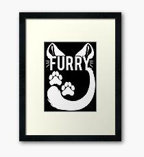 FURRY -feline - white text- Framed Print