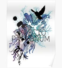 EXPECTO PATRONUM HEDWIG WATERCOLOUR Poster