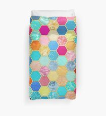 Patterned Honeycomb Patchwork in Jewel Colors Duvet Cover