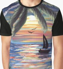 Palm Trees Sunset Ocean Painting Graphic T-Shirt