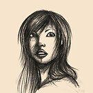 Beautiful Woman Artist Pencil Sketch 2 by Liron Peer