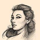 Beautiful Woman Artist Pencil Sketch 1 by Liron Peer