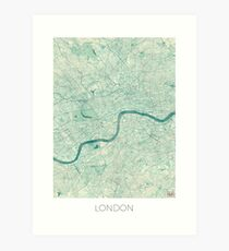 London Map Blue Vintage Art Print