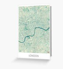 London Map Blue Vintage Greeting Card