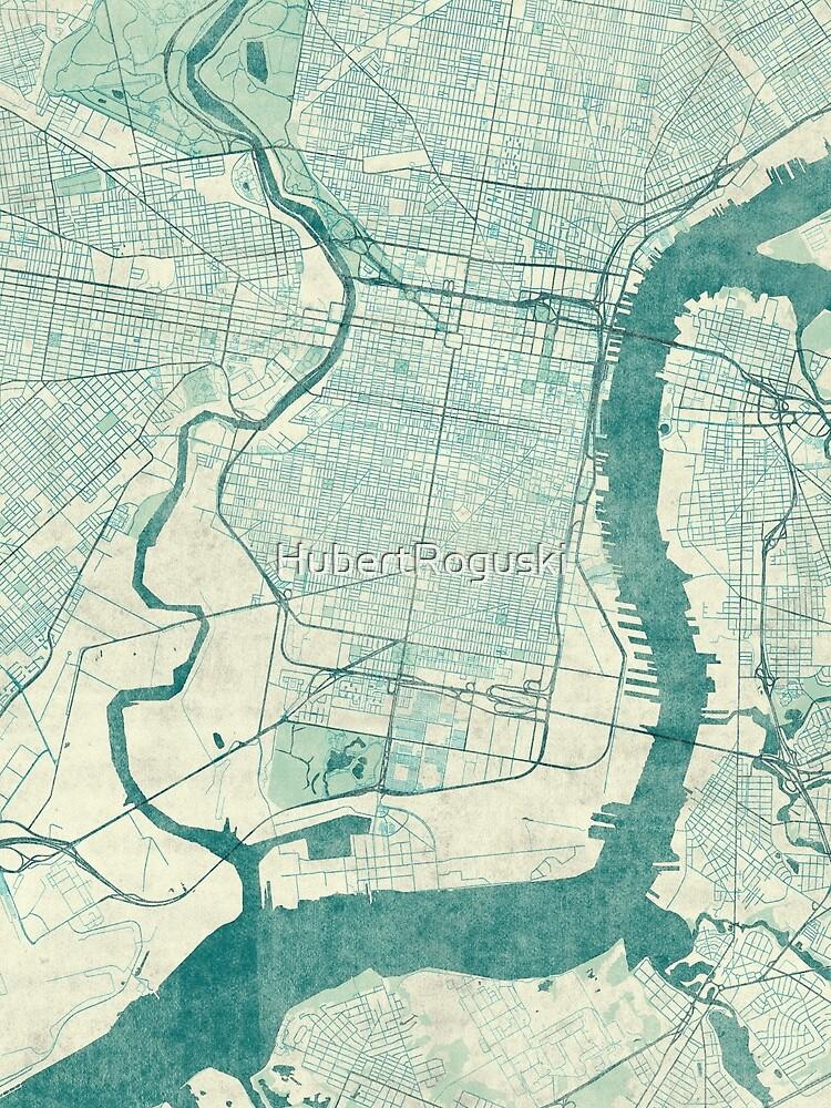 Philadelphia Karte blau Vintage von HubertRoguski