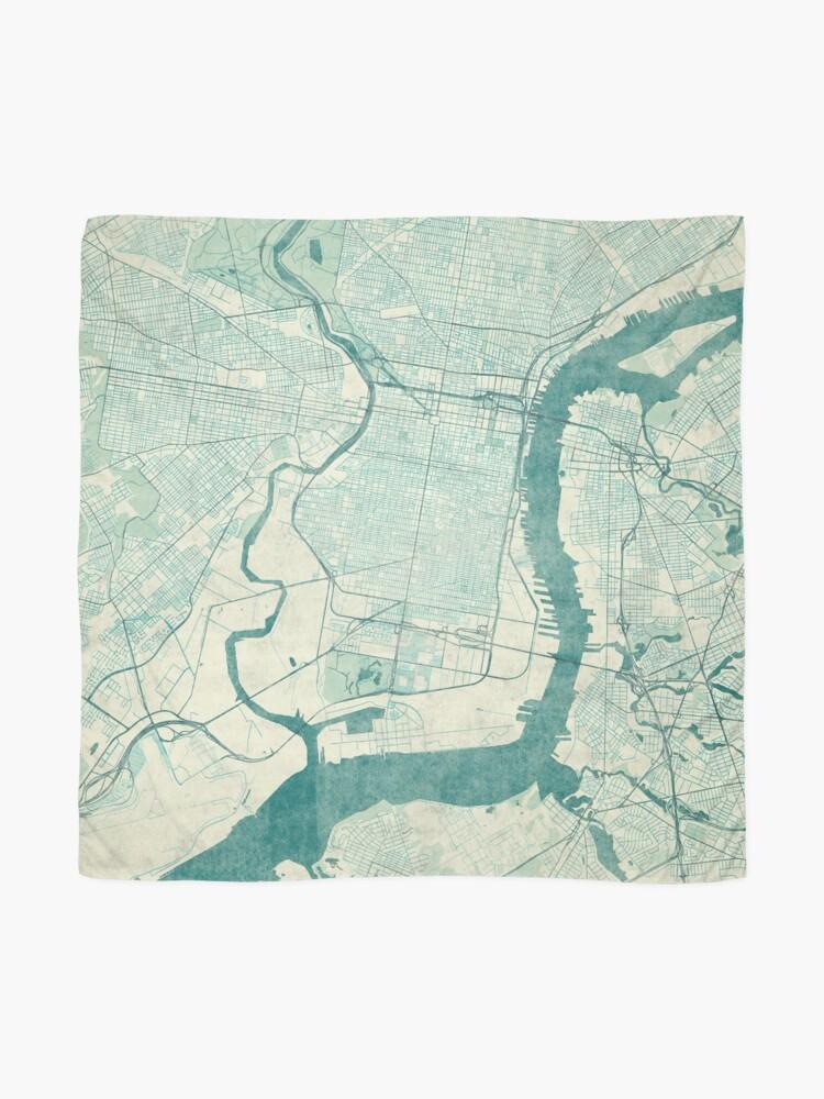 Alternative Ansicht von Philadelphia Karte blau Vintage Tuch