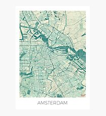 Amsterdam Map Blue Vintage Photographic Print