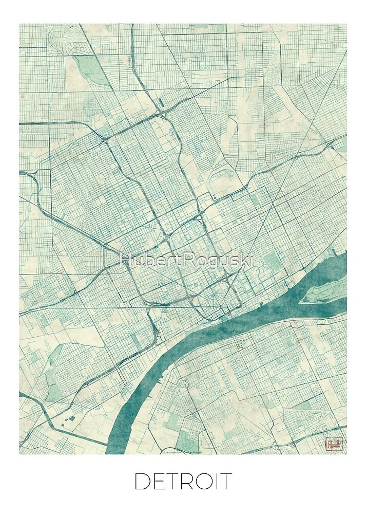 Detroit Map Blue Vintage by HubertRoguski