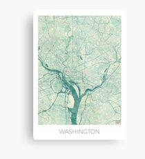 Washington Karte blau Vintage Metalldruck