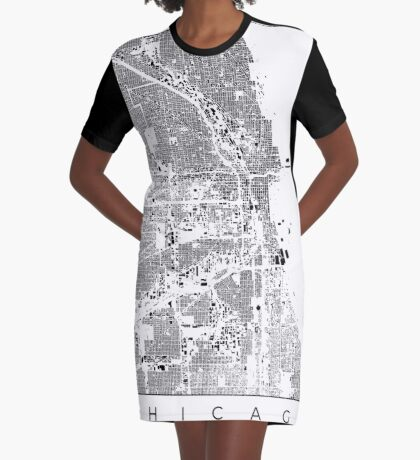 Chicago Map Schwarzplan Only Buildings Urban Plan Graphic T-Shirt Dress
