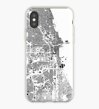 Chicago Map Schwarzplan Only Buildings Urban Plan iPhone Case