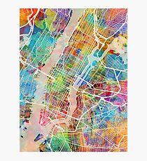Lámina fotográfica Mapa de la calle de la ciudad de Nueva York