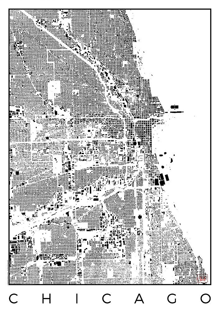 Chicago Map Schwarzplan Only Buildings Urban Plan by HubertRoguski