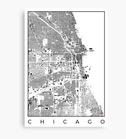 Chicago Map Schwarzplan Only Buildings Urban Plan Canvas Print