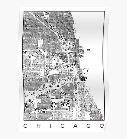 Chicago Map Schwarzplan Only Buildings Urban Plan Poster