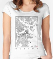 Boston Map Schwarzplan Only Buildings Urban Plan Women's Fitted Scoop T-Shirt