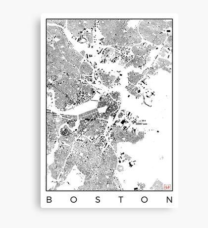 Boston Map Schwarzplan Only Buildings Urban Plan Canvas Print