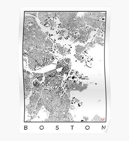 Boston Map Schwarzplan Only Buildings Urban Plan Poster