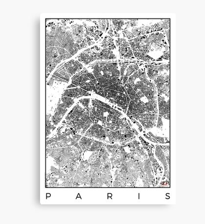 Paris Map Schwarzplan Only Buildings Urban Plan Canvas Print