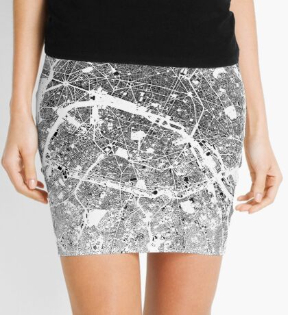 Paris Map Schwarzplan Only Buildings Urban Plan Mini Skirt