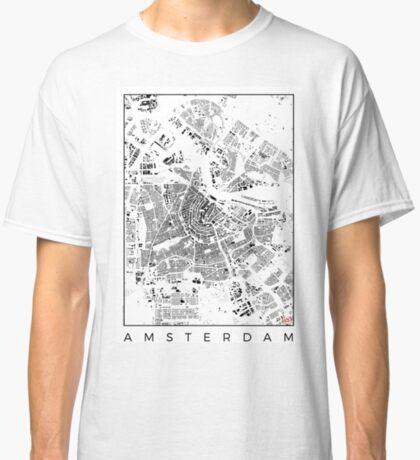 Amsterdam Map Schwarzplan Only Buildings Urban Plan Classic T-Shirt