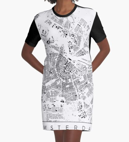 Amsterdam Map Schwarzplan Only Buildings Urban Plan Graphic T-Shirt Dress