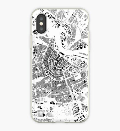 Amsterdam Map Schwarzplan Only Buildings Urban Plan iPhone Case