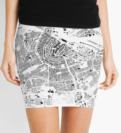 Amsterdam Map Schwarzplan Only Buildings Urban Plan Mini Skirt