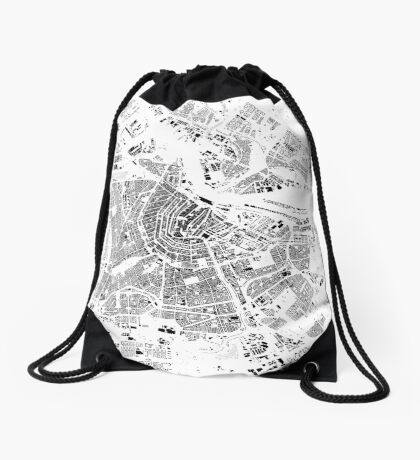 Amsterdam Map Schwarzplan Only Buildings Urban Plan Drawstring Bag