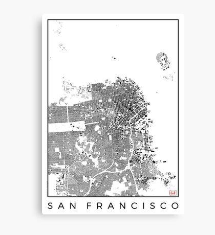 San Francisco Map Schwarzplan Only Buildings Urban Plan Canvas Print
