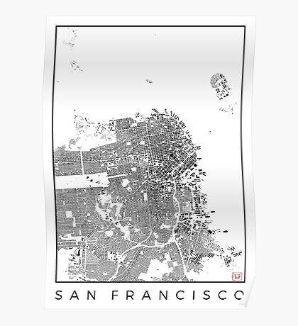 San Francisco Map Schwarzplan Only Buildings Urban Plan Poster