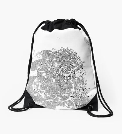 San Francisco Map Schwarzplan Only Buildings Urban Plan Drawstring Bag