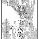 Seattle Karte Schwarzplan Nur Gebäude Urban Plan von HubertRoguski