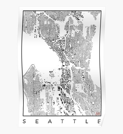 Seattle Map Schwarzplan Only Buildings Urban Plan Poster