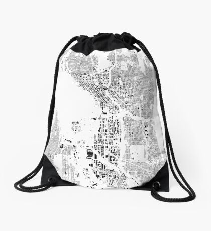 Seattle Map Schwarzplan Only Buildings Urban Plan Drawstring Bag