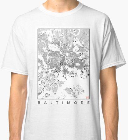 Baltimore Map Schwarzplan Only Buildings Urban Plan Classic T-Shirt