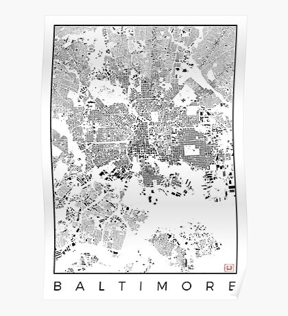 Baltimore Map Schwarzplan Only Buildings Urban Plan Poster