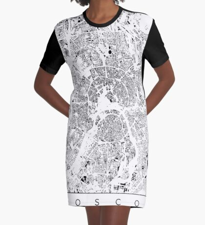 Moscow Map Schwarzplan Only Buildings Urban Plan Graphic T-Shirt Dress
