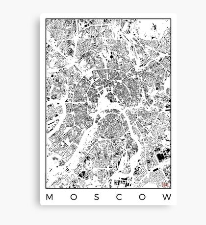 Moscow Map Schwarzplan Only Buildings Urban Plan Canvas Print