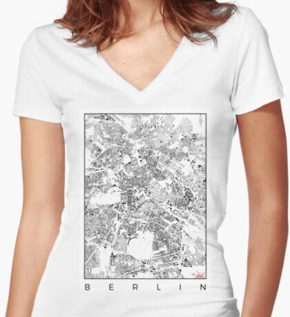 Berlin Map Schwarzplan Only Buildings Urban Plan Women's Fitted V-Neck T-Shirt