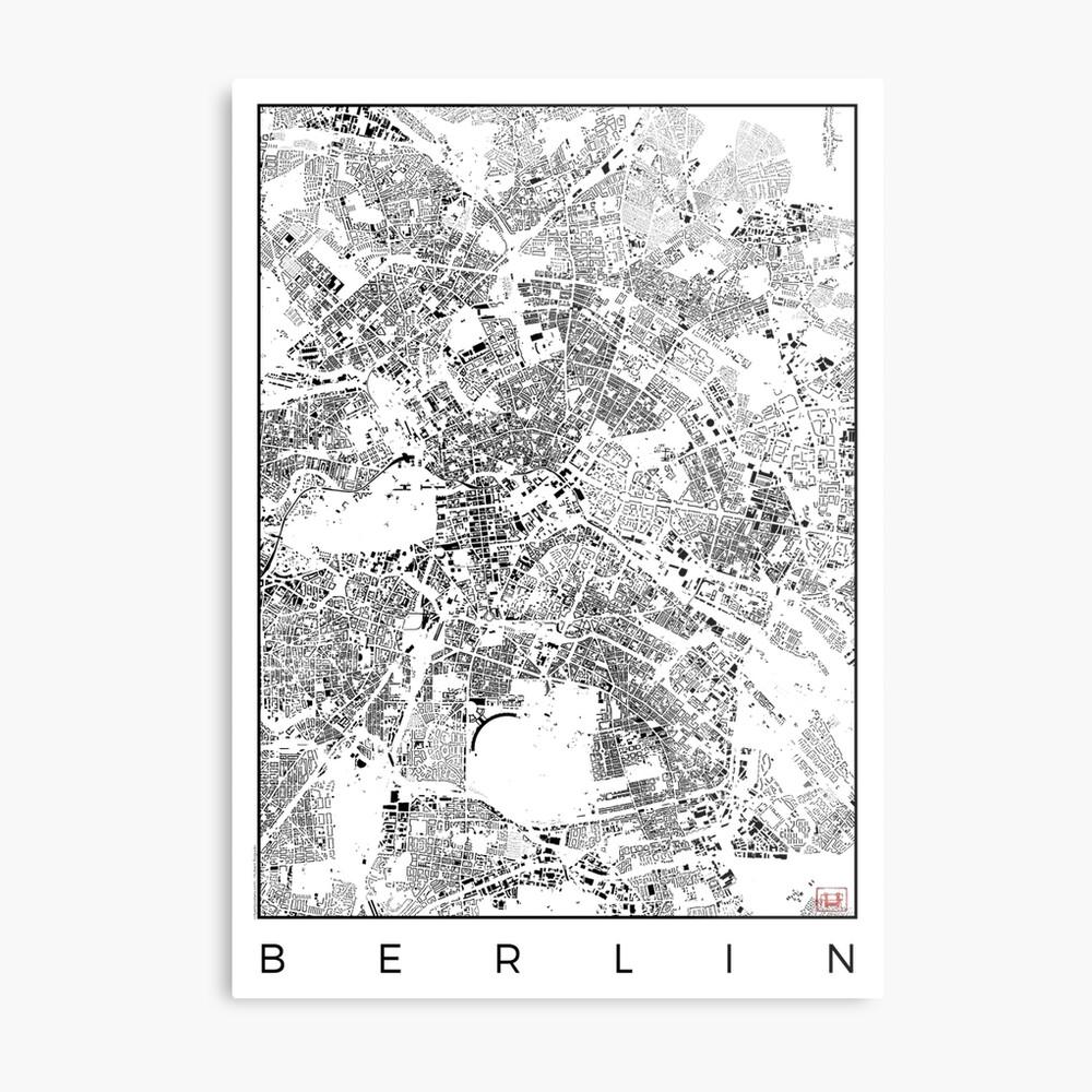 Berlin Karte Schwarzplan Nur Gebäude Stadtplan Metallbild