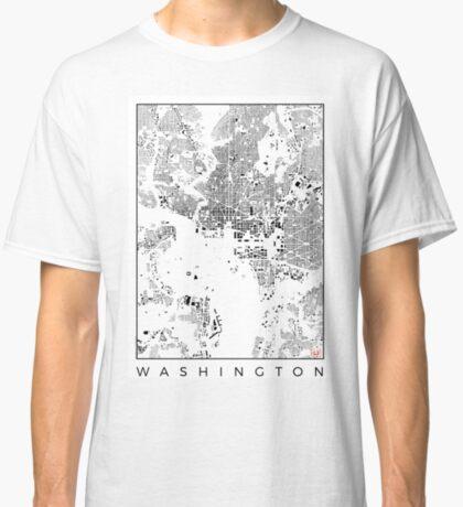Washington Map Schwarzplan Only Buildings Urban Plan Classic T-Shirt