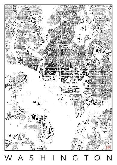 Washington Map Schwarzplan Only Buildings Urban Plan by HubertRoguski