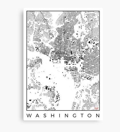 Washington Map Schwarzplan Only Buildings Urban Plan Canvas Print