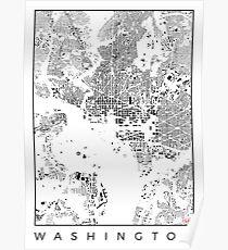 Washington Map Schwarzplan Only Buildings Urban Plan Poster