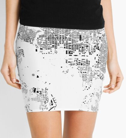 Washington Map Schwarzplan Only Buildings Urban Plan Mini Skirt